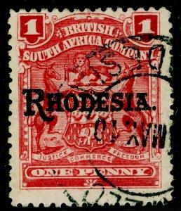 RHODESIA SG101, 1d carmine-rose, FINE USED.