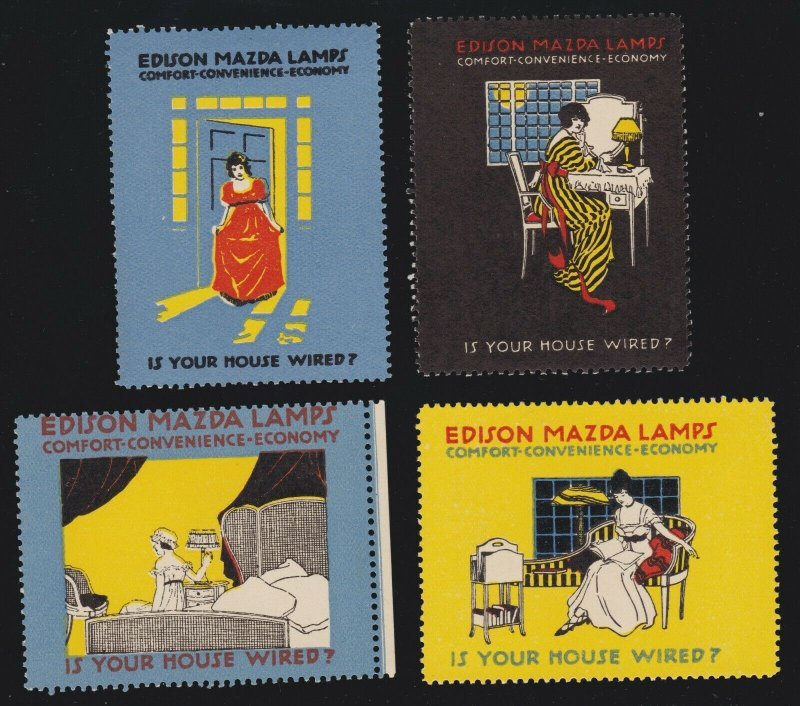 US 1932 Edison Golden Jubilee Mazda Lamps Poster Stamps Lot of 4