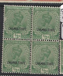 INDIA  CHAMBA  P1306B)  KGV   1/2A  SG 63  BL OF 4   MNH