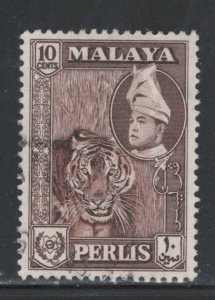 Malaya States - Perlis 1957 Tiger & Raja Syed Putra 10c Scott # 34 Used