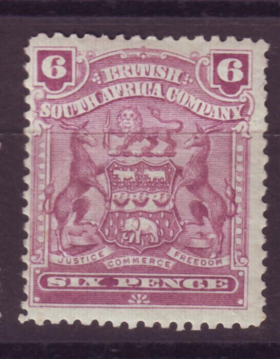 J17065 JLstamps 1898-1908 rhodesia mhr #65 coat of arms signed on back