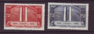 J20127 jlstamps 1936 france set mh #311-2 canadian war memorial