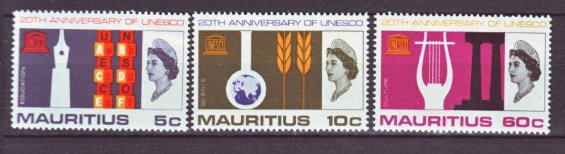 J22166 Jlstamps 1966 mauritius set mnh #299-301 unesco