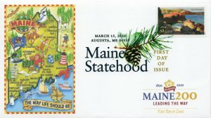 20-065, 2020, Maine Statehood, Digital Color Postmark, First Day Cover, Maine200