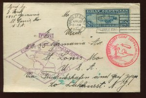 Scott C15 Graf Zeppelin Used Stamp on Nice cover (C15-Cover 2)