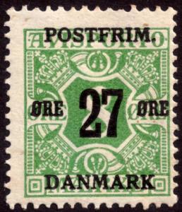 Denmark 1918 27ore on 8ore Green Newspaper SG200 MH