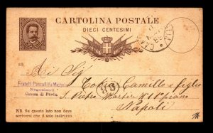 Italy 1889 10c Postal Card Used to Naples - L11085