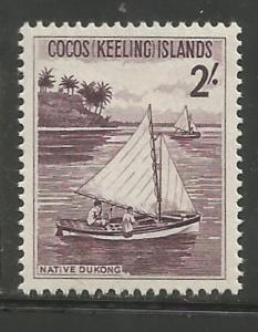 COCOS ISLANDS, 5, MNH, SAILBOAT