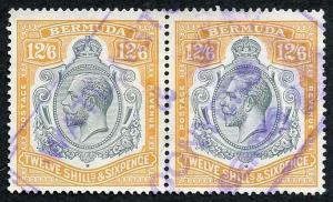 Bermuda SG94c KGV 12/6 Grey and Orange PAIR Fiscal Cancel Nick in Top Right Scr