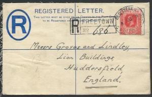 SIERRA LEONE 1925 GV 3d reg envelope uprated used to UK....................56988