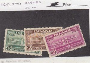 J25794  jlstamps 1838 iceland set mh #209-11 university