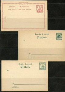 GERMAN COLONY SAMOA LOT OF THREE  UNUSED POST CARDS