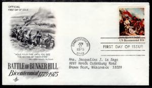 US 1564 Bunker Hill Artcraft Typed FDC