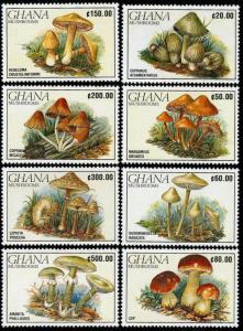 HERRICKSTAMP GHANA Sc.# 1239-46 Mushrooms