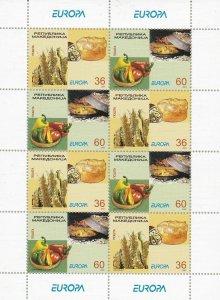 2005 Europa Cept , Macedonia 1 Minisheet Of 8 Values 'Gastronomy' MNH