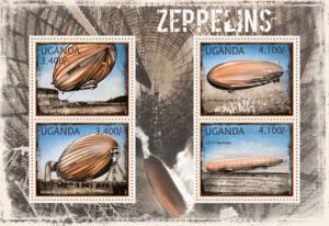 Uganda - Zeppelins on Stamps - 4 Stamp  Sheet - 21D-069