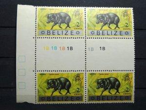 BELIZE 1973 SC# 314 WAREE / FAUNA BLOCK x 4 Gutter Sniper MNH
