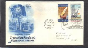Art Craft 2340 22c Conn 2360 22c Constitution FDC (Cachet-Pencilled/A) CV0805