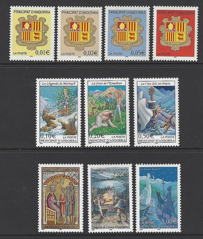 Andorra French 2002 Coat of Arms Legends VF MNH (545-54)
