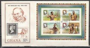 Ghana, Scott cat. 708. Sir Roland Hill s/sheet. Music Instr. First day cover. ^