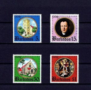 BARBADOS - 1975 - STAINED GLASS - CATHEDRAL - ANGLICAN DIOCESE + MINT MNH SET!