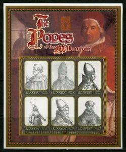 UGANDA    POPES OF THE MILLENNIUM  SHEET  MINT NH