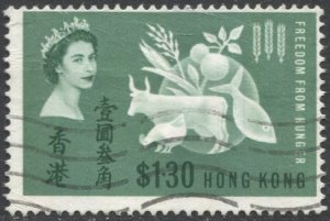 HONG KONG  Sc 218, Used, F, 1963  $1.30 Freedom from Hunger issue