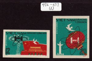 North Viet Nam - 1967 - Sc 476-477 - 1st China Hydrogen Bomb - Imperf - MNH - #2