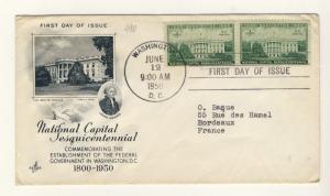 US - 1950 - Scott 990 FDC - 150th Anniv. of Washington National Capital - pair