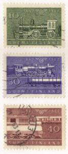 Finland #388-90 used complete set - trains