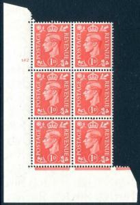 1941 1d Pale Scarlet Cylinder 182 no dot UNMOUNTED MINT V74900