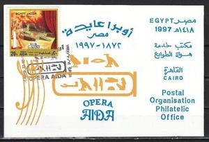 Egypt, Scott cat. 1655. Opera Aida issue on First Day Postal Bulletin.