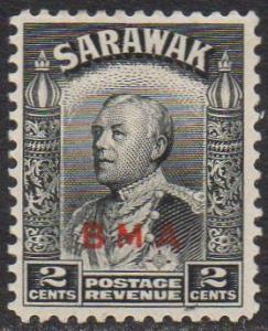 Sarawak 1945 2c black with B.M.A. overprint MH