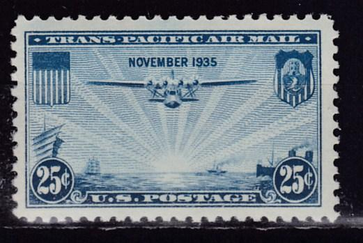 United States 1935 25c blue Airmail Transpacific  F/VF/NH(**)