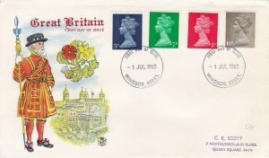 GBP104) FDC GB 1968, new stamp values, Tower of London & Yeoman of the Guard