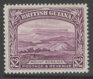 BRITISH GUIANA SG318a 1950 $2 PURPLE p14x13 MTD MINT