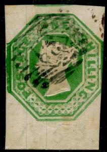 SG55, 1s green, CUT SQUARE, FINE USED. Cat £1000.
