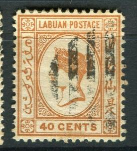 NORTH BORNEO; 1892-94 early classic QV issue used Shade of 40c. value