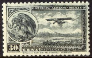 MEXICO C63, 30cents ARMS & PLANE RE-ISSUE. MINT, NH. F-VF.