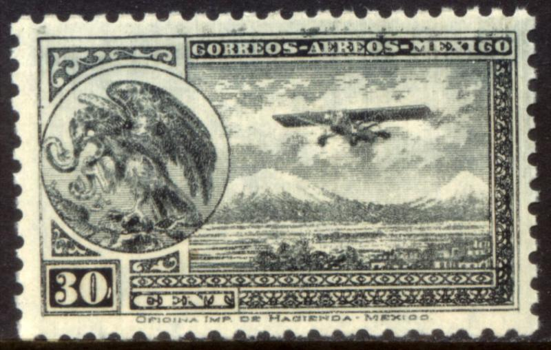MEXICO C63, 30¢ ARMS & PLANE RE-ISSUE. MINT, NH. F-VF.