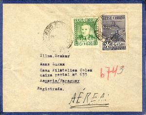 Brazil 20Cr Dutra and 3.80Cr Convention of Rotary International 1948 Porto Un...