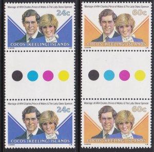 73-74 Cocos Islands 1981 Royal Wedding Gutter Pair MNH