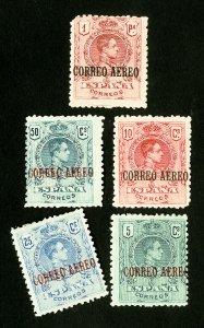 Spain Stamps # C1-5 F-VF OG H Scott Value $62.00