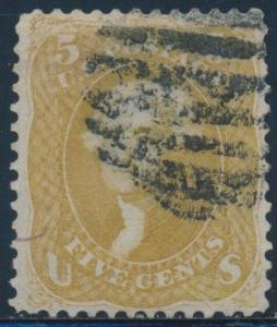 #67a 5¢ 1861 BROWN YELLOW VF USED GEM (APP) WITH PSE CERT CV $1,100 AU526