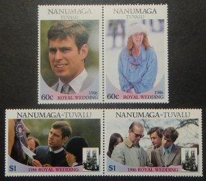 Tuvalu Nanumaga 71-72. 1986 Royal Wedding, se-tenant pairs, NH