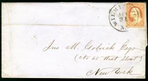 MALACK 11 ON COVER, Jan 31st, 1856, one page letter ..MORE.. w9971