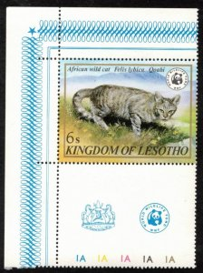 LESOTHO 1982 6s #351 MNH WWF AFRICAN WILD CAT TOPICAL STAMP WITH LABEL