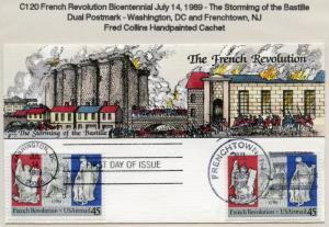 #C120 JULY 14, 1989 45c FRENCH REVOLUTION ON FDC COLLINS CACHET BL9919