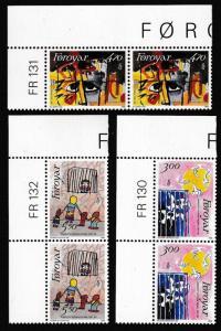 Faroe Is. 25th Anniversary of Amnesty International 3v Corner Pairs SG#133-135