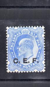 India Abroad CEF EDVII 1909 SGC15 2a6p ultramaine  MM